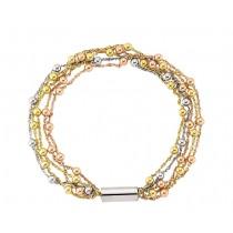 Tri Colour Gold Beaded Bracelet