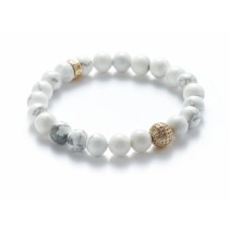 HOWLITE/GOLD BALL BRACELET