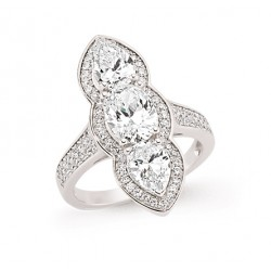 Silver Cubic Zirconia Tripple Stone Marquise Fashion Ring-O