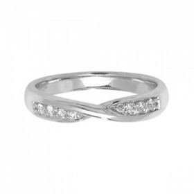 18CT WHITE GOLD DIAMOND CROSS OVER RING