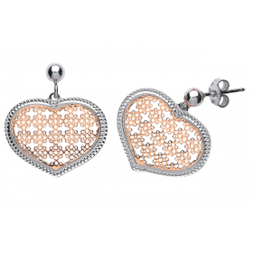 SILVER AND ROSE GOLD PLATE HEART MESH DESIGN EARRINGS