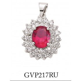 Silver Cubic Zirconia Cluster Pendant With Synthetic Ruby Stone Centre