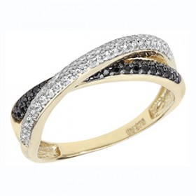 Fancy 9ct Gold White & Black C/Z Cross Over Dress Ring