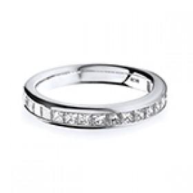 PLATINUM CHANNEL SET DIAMOND HALF ETERNITY RING