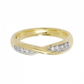 18CT Yellow Gold Diamond Crossover Ring