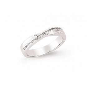 Silver Cubic Zirconia Set Cross Over Ring