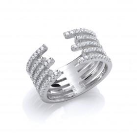 Stunning Unique Rhodium Crystal Ring