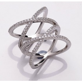 Criss Cross Crystal Silver Ring