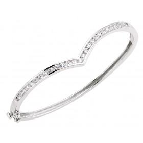 Silver Wishbone Crystal Bangle