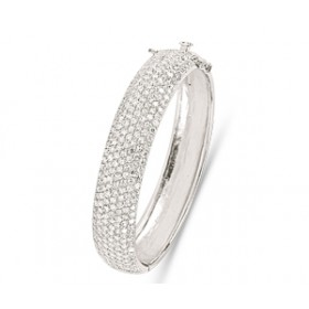 Silver Crystal Cuff Bangle