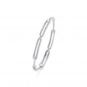Rhodium And Crystal Bangle