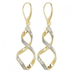 Stunning Yellow Gold Crystal Twist Earrings