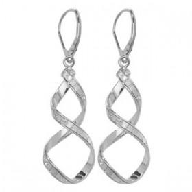 Stunning White Gold Crystal Twist Earrings