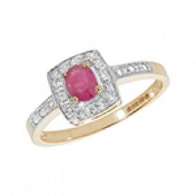 9ct Diamond & Oval Rub Cushion Ring