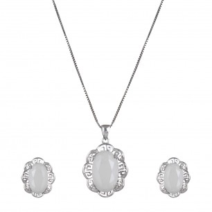 Sterling Silver White Zirconia Crystal Necklace & Pendant Set