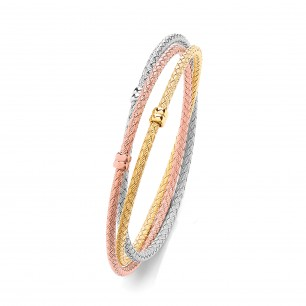 Tri - Colour Entwined Bangle