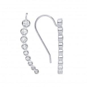 Stunning Silver Crystal Drop Earrings