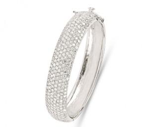 Silver Crystal Cuff Bangle