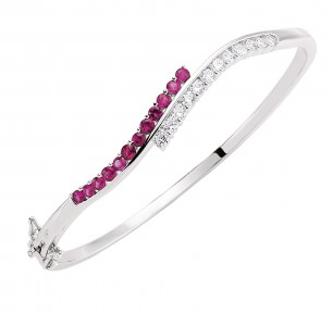 Stunning Ruby & Crystal Bangle