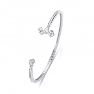 Rhodium And Silver Crystal Bangle