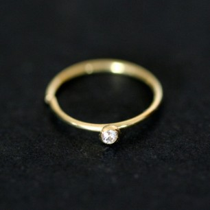 Piercing 18k Gold Ring with 01 Zirconia 0750