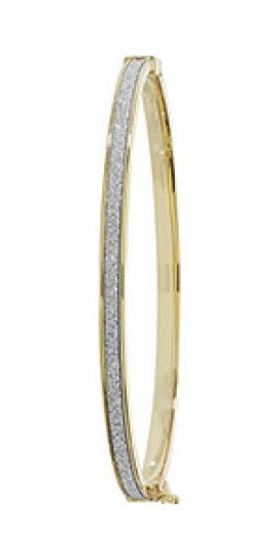 9ct Yellow Gold Crystal Bangle