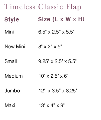 Size Guide for Chanel Bags